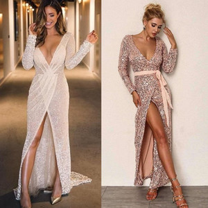 2020 Sexy Evening Dresses Long Sleeves Sequined Prom Gowns Fashion Week Suit Maxi Dress Deep V Neck Beach Party Wear on Sale