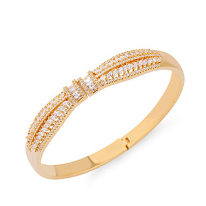 Wholesale Gold Silver Color Bracelet for Women Bangles White Crystal Dubai Wedding Accessories Bracelet