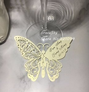 Wholesale 50pcs Hollow out Butterfly Shape Place name Seat Cup Card Wedding Invitation glass Cards text personalized