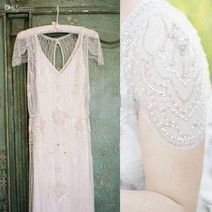 2019 Great Gatsby Luxury Crystal Ggarden Wedding Dresses Modest Cap Sleeve full Beaded Country Bohemian Bridal Dress jenny packham