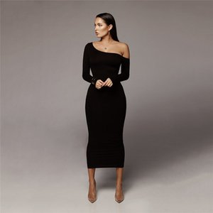 Wholesale Women Solid Color Sexy Dresses Office Lady Long Sleeve Clothing Fashion Female Casual Brief Bodycon Dress