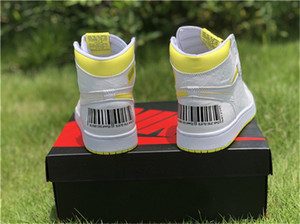 2019 Release 1 OG High First Class Flight Men Basketball Shoes Retro White Dynamic Yellow Black 555088-170 Authentic Sport Shoes With Box on Sale