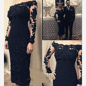Elegant Black Evening Dresses With Appliques Beaded A-Line Long Sleeve Arabic Formal Prom Gowns Bateau robe de soiree 2019 Abendkleider on Sale
