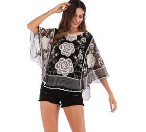 Wholesale Europe and the United States new famous design fashion brand embroidery hollow seven point sleeves lace shirt loose round neck shirt