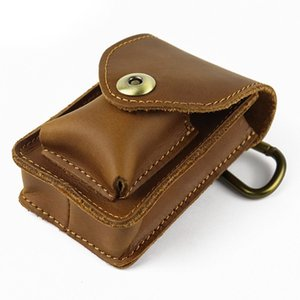 Wholesale Crazy Horse Genuine Leather Waist Bag Men Vintage Cowhide Small Mini Belt Waist Pack Cigarette Case Box Pouch Male Creative Bags