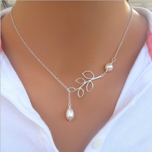 Wholesale leaf chains for sale - Group buy Pearl Leaf Pendants Necklaces for Women Fine Jewelry Fashion Silver Plating Lady Party Dress Charms Infinity Chain Pearl Choker Necklace