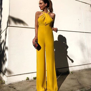 Wholesale Cool 2019 Yelllow Women Jumpsuits Pant Dress Halter Neck Sleeveless Long Boho Summer Beach Holiday Party Dress LLF2172