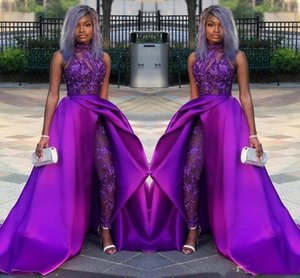 Classic Jumpsuits Prom Dresses With Detachable Train High Neck Lace Appliqued Bead Evening Gowns Luxury African Party Women Pant Suits on Sale