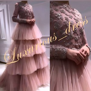 Blush Pink Long Sleeves Muslim Evening Gowns 2019 Elegant Long Tiered Tulle Arabic Women Formal Dress Dubai Bridal Party Dresses on Sale