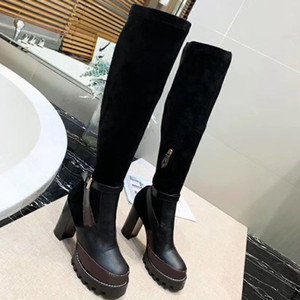 Wholesale red rubber trim resale online - new Banded Women G Letter Canvas Over the knee Boot Designer Lady Leather Trim Rubber Sole Thigh High Boots