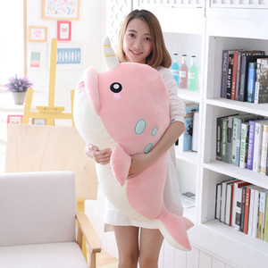 Wholesale 1pc cm Lovely Whale Fish Doll Pillow Soft Narwhal Plush Stuffed Animal Toys Kids Boys Girls Cute Birthday Christmas Gifts