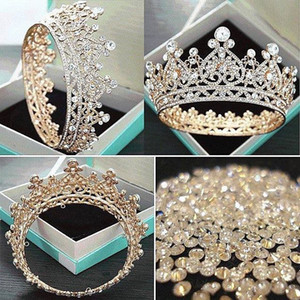 Wholesale 2019 Hot Sale Gold Headpieces Wedding Crown Alloy Bridal Tiara Baroque Queen King Crown gold color rhinestone tiara and crown Cheap