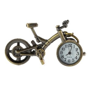 Wholesale OUTAD Retro Mini Bronze Bike Bicycle Design Pocket Watch Pendant KEY Chain Quartz