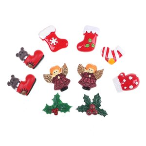 Wholesale 10Pcs Cute Christmas Resin Accessories DIY Christmas Tree Decor Socks Leaves Scrapbooking Flatback Craft New