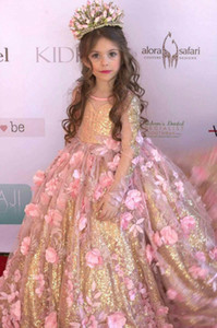Wholesale Stunning Blush D Floral Flowers Pageant Dresses Long Sleeves Gold Sequined Fabric Kids Toddlers Prom Evening Party Flower Girls Dress