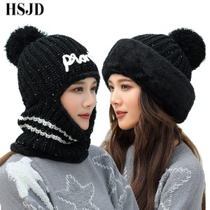 Wholesale 2018 New Winter Sequins Multi Functional Knitted Hat Women Balaclava Mask Warm Thick Skullies Beanies Female Outdoor Ski Cap