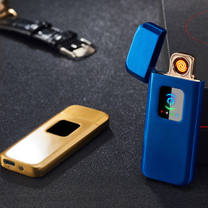 usb rechargeable electric Cigarette Lighter double side Tungsten coil heater slim cigar lighter touch sensitive switch blue gold silver 712