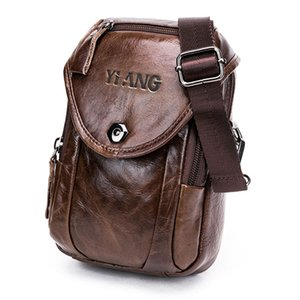 Wholesale Yiang Genuine Leather Cell Mobile Phone Wallet Pouch Case Bag Men S Small Cross Body Shoulder Messenger Bag Belt Waist Pack Da