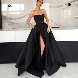 Long Prom Dress 2019 Elegant abendkleider Sexy High Slit Burgundy Arabic Formal Evening Gowns robe de soiree on Sale