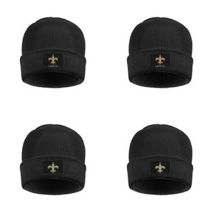 Wholesale New Orleans Saints Men s Womens Soft Wool Cap folded Knitting Beanie Hats Unisex Salute to Service Logo Black denim metal logo art