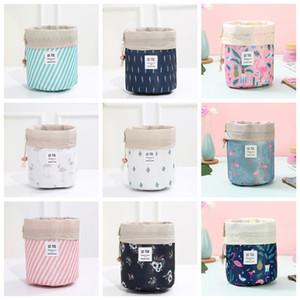 Women Cosmetic Bag Flamingo Print Makeup Bags Barrel Shaped Storage Bag Drawstring Travel Pouch Sundries Toiletry Bags Wash Bag YFA468L