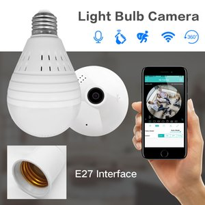 Wholesale SDETER Bulb Lamp Wireless IP Camera Wifi P Panoramic FishEye Home Security CCTV Camera Degree Night Vision Support GB