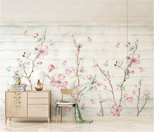 Wholesale Colorful Sakura Oriental Cherry Blossom Flower Mural Photo Wallpaper Wall Decor Hand Painting Floral Butterfly Wallpapers Roll