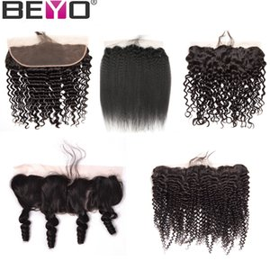 Wholesale Ear To Ear Lace Frontal Closure Brazilian Malaysian Peruvian Indian x4 Pre Plucked Frontal Loose Water Deep Wave Kinky Curly Remy Beyo