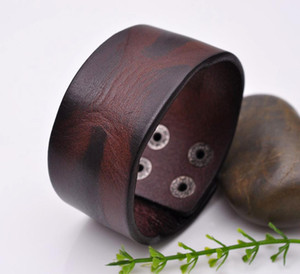 Casual Punk Western Cowboy Mens Brown Quality Wide Cowhide Leather Wrap Belt Bracelet Cuff Wristband Bangle