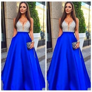 Sheer V-Neck Satin Beading Sequins Top Prom Dresses 2019 Vintage Sleeveless Bling Bling Special occasion Party Gowns Homecoming Party Gowns on Sale