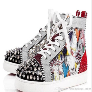 Wholesale Red Bottom Fashion woman mens luxury designer sneakers shoes Print Silver Pik Pik No Limit RARE studs rhinestones graffiti boots