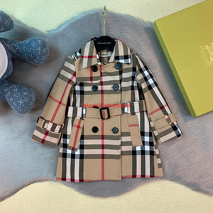 Wholesale newChildren windbreaker kids designer clothing autumn boys and girls plaid pattern coat anti-wrinkle fabric lining cotton waist design coat