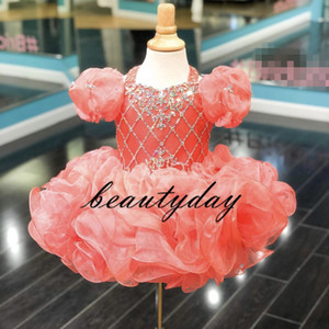 Wholesale Coral Girls Pageant Dresses New Toddler Kids Ball Gown Glitz Flower Girl Dress Weddings Beaded Drapped Cupcake Size
