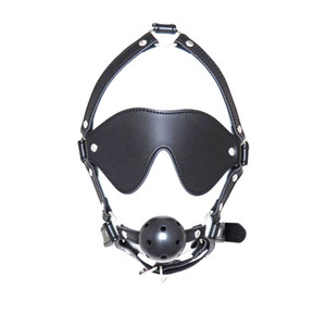 Wholesale Fetish Mouth Gag With Eye Mask BDSM Head Harness Ball Gags Sex Restraints Adult Toys for Women gn222402048