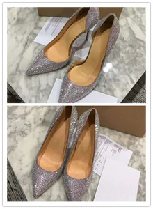 Wholesale fashion women shoes Silver glitter Iriza pump Point toe stilettos wedding party high heel dress shoes with original box