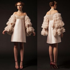 Champagne Krikor Jabotian Short Prom Dresses Off The Shoulder Knee Length Long Sleeve Cocktail Party Gowns Tiered Lace Beads Evening Dress on Sale