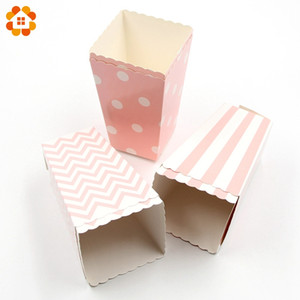 Wholesale Popcorn Box Cup Pink Theme Party Decoration For kids Happy Birthday Christmas Wedding Party Baby Shower Supplies