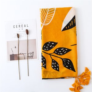 Wholesale Women Simple Leaf Printed Scarf Large Size Muslim Hijab Ladies Scarves with Tassels Yellow Fashion Scarf