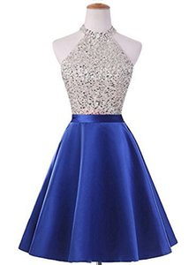 Beaded Homecoming Dress with Halter Neck 2020 Short Prom Dresses Backless Party Gowns Navy Blue Royal Blue Red