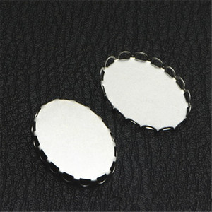 Wholesale 100 mm mm Oval Cabochon Base Connectors Settings Stainless Steel Lace Bezel Setting For Jewelry Making