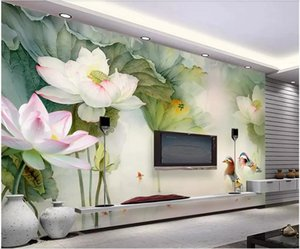 WDBH 3d photo wallpaper custom mural Chinese lotus pond mandarin duck tv background painting home decor living room wallpaper for walls 3 d