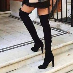 Nice Fashion Women Thigh High Boots Fashion Suede Leather High Heels Lace Up Female Over The Knee Boots Plus Size Shoes