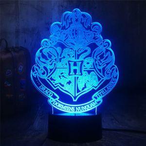 3D Harry Potter Night Light Hogwarts Magic School LED Lamp Luminaria Bedroom Decor Linternas 7 Colors RGB Table Lamp Kids
