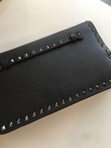 fashionville~top quality~w203 genuine leather black spike handle clutch bag 28*3.5*16 cm on Sale