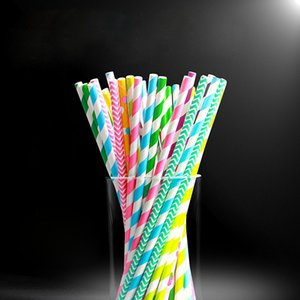 Wholesale Colorful Striped Paper Straws Disposable Dinking Straws for Baby Shower Birthday Wedding Christmas Party Decoration Supplies