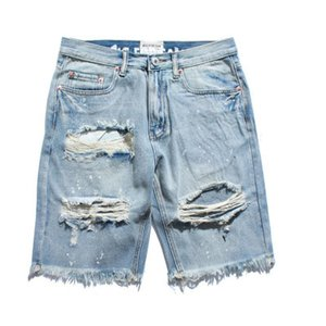 New 2019 Summer High Quality Streetwear Hip Hop Men Hole Shorts Fashion Denim Shorts Men Casual Ripped Knee Shorts on Sale