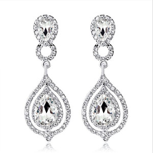 Wholesale 2019 New Shining Fashion Crystals Bridal Earrings Rhinestones Long Drop Earring For Women Bridal Jewelry Wedding Gift For Bridesmaids