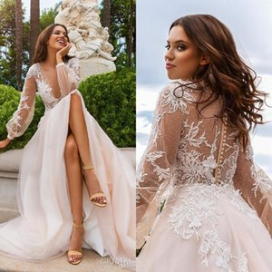 Wholesale hand saws for sale - Group buy Plus Size Lace Appliques Wedding Dresses Country Deep V Neck See Through Back With Button Handmade Flowers Sweep Train Bridal Gowns