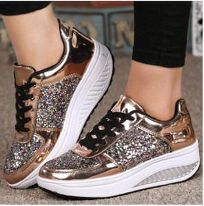Wholesale Women s Ladies Wedges Sequins Shake Shoes Fashion Girls Sport Shoes Women Woman Shoes White Shoe