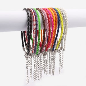 16ps Multi- Color 3mm Round Braided Pu Leather Bracelets & Bangles Lobster Clasps Leather Fashion Charm Bracelet For Men Women